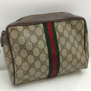 Gucci Gg Webbing Vintage Cosmetic Pouch Monogram